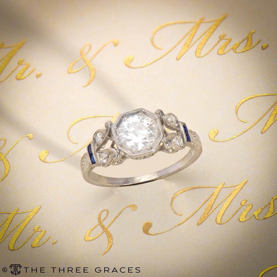 european diamond antique engagement ring