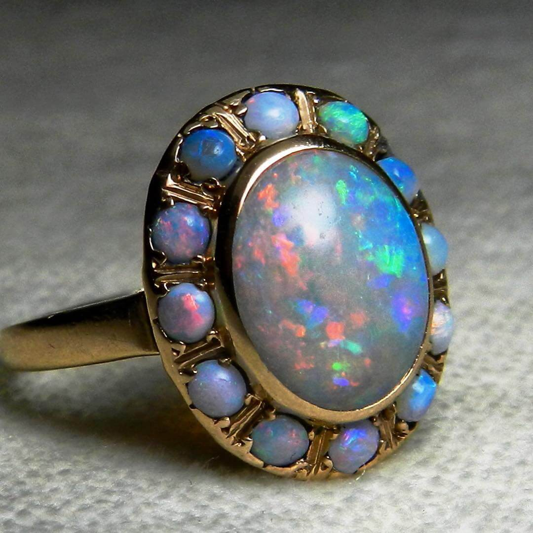 Vintage Opal Art Deco Engagement Ring
