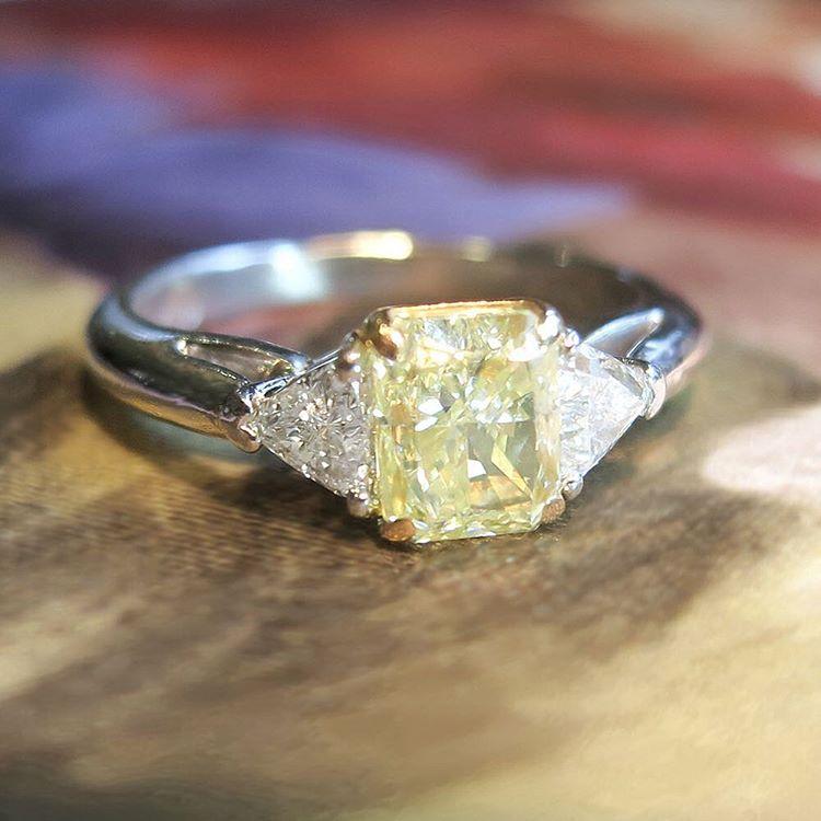 yellow diamond estate engagement ring
