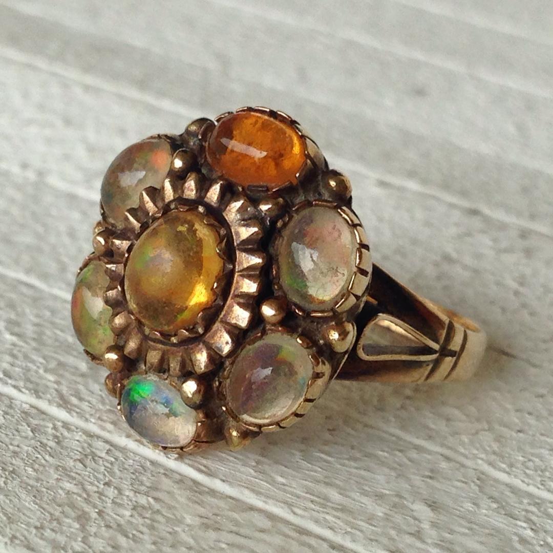 multicolor gem stones antique wedding band
