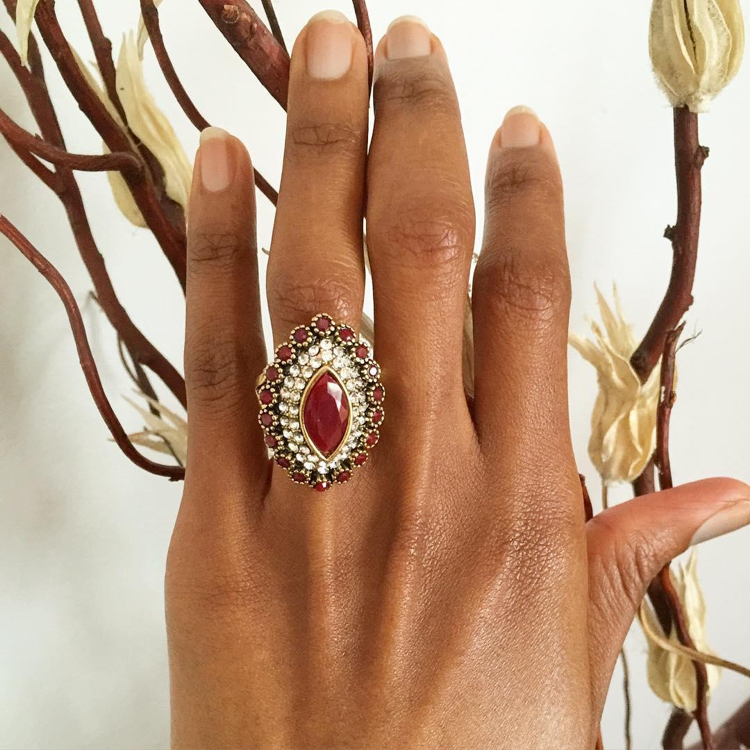 brown color vintage antique ring