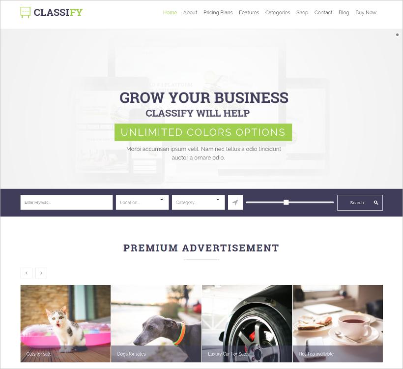 classify classified ads wordpress theme