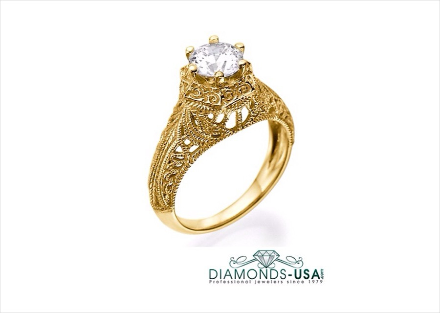 gold engagement ring vintage