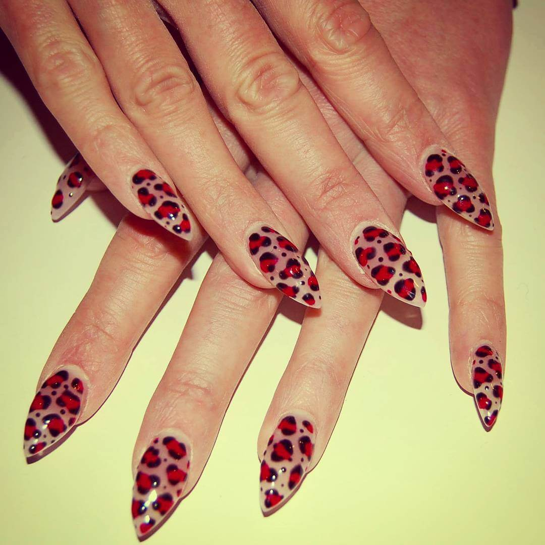Red And Leopard Nails - Leopard Image HD
