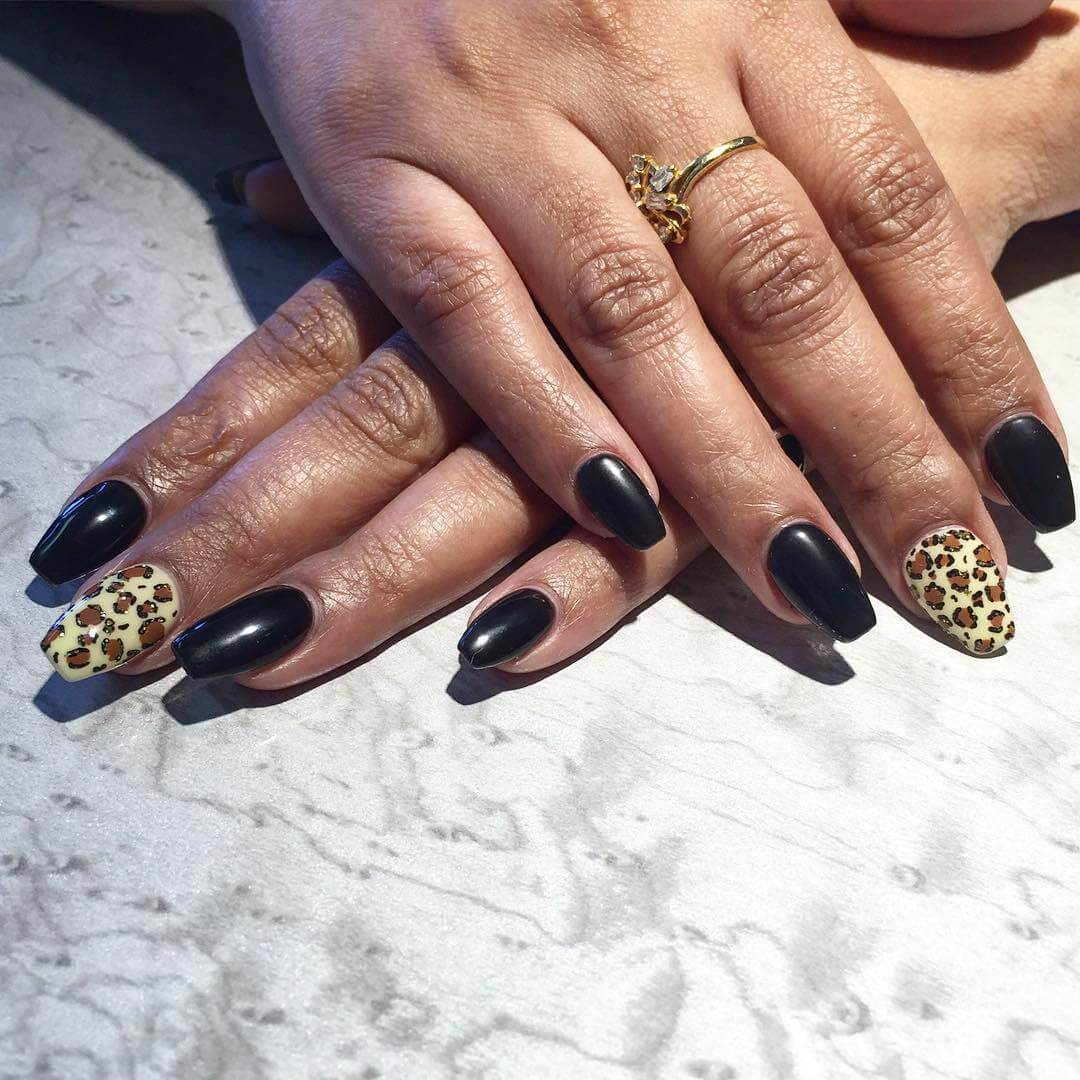 attractive leopard nails for sharp nails 1