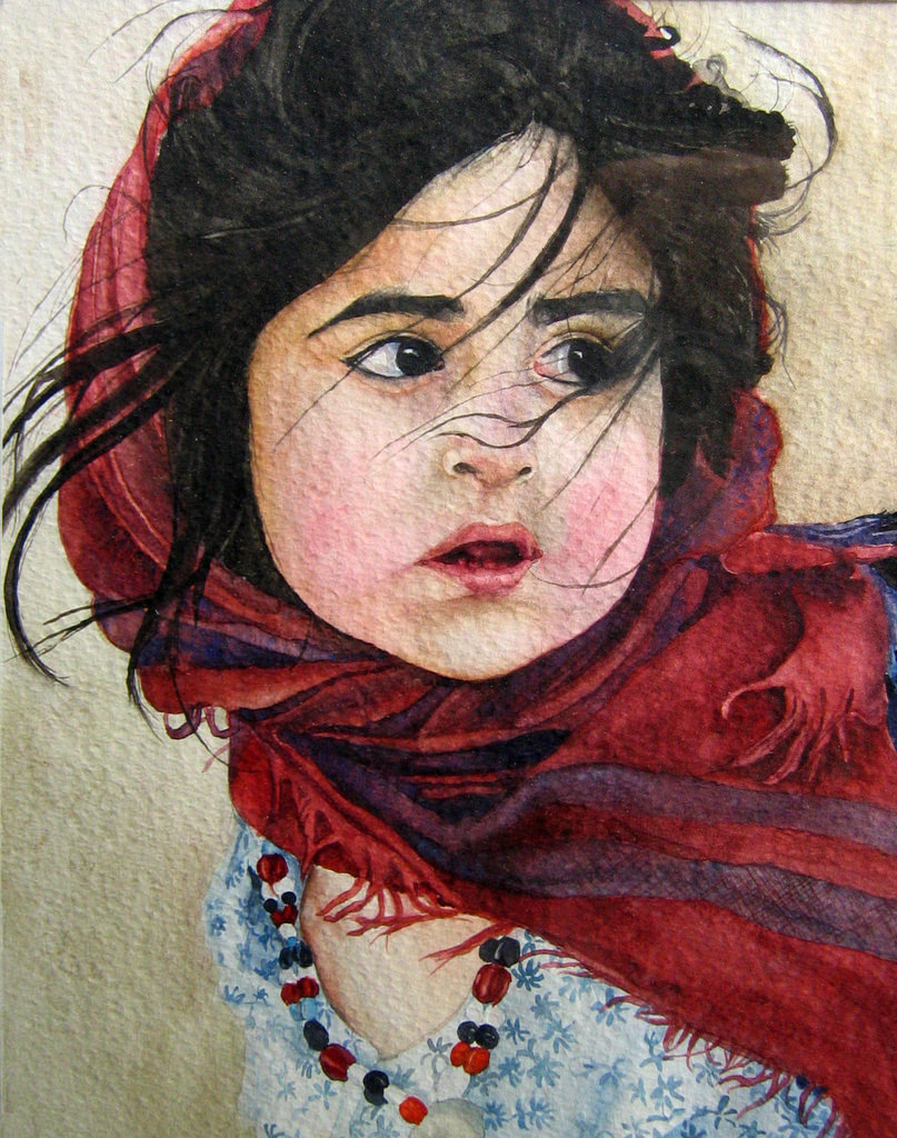 cute girl watercolor painting