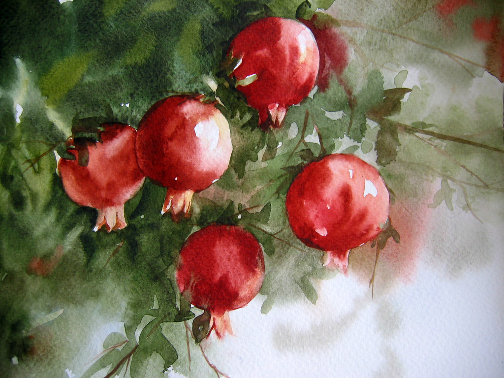 fruits painting with watercolors