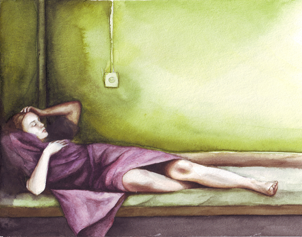 sleeping women awesome watercolor art