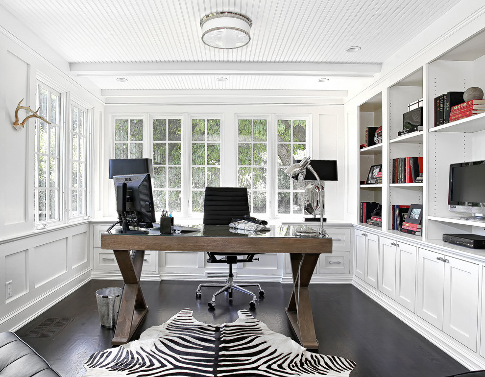Black And White Home Office Room