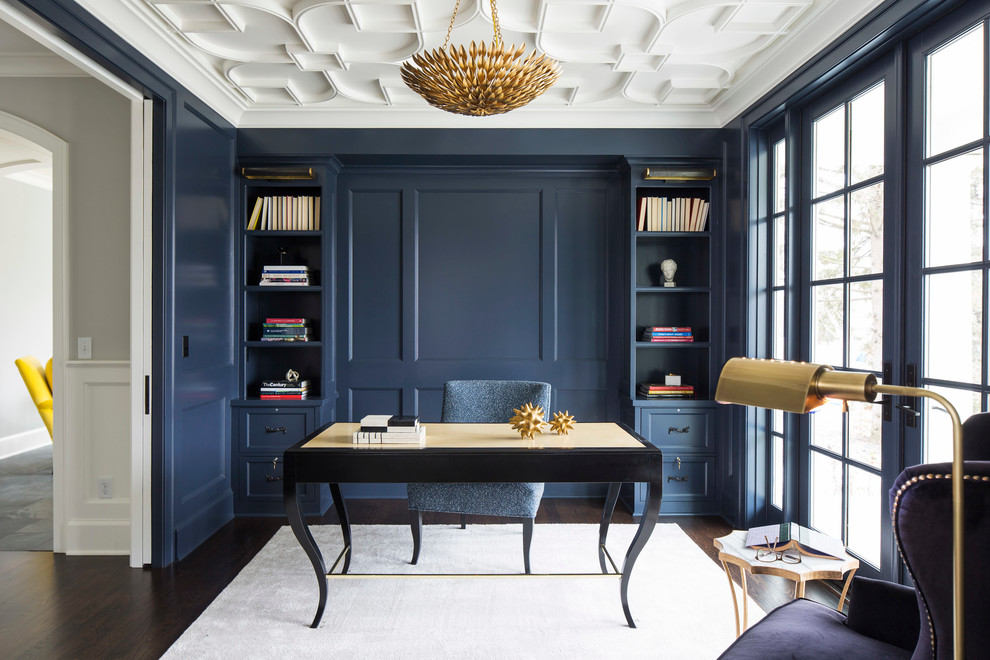 Blue Home Office Design Looks Unique