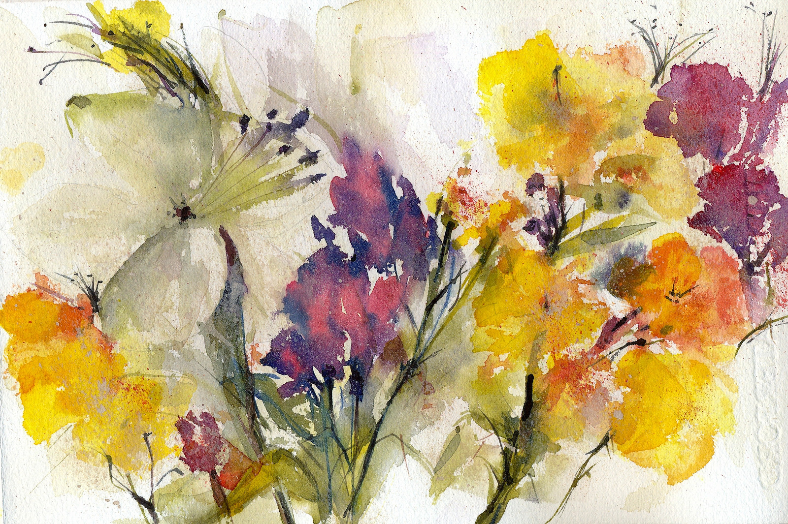 pretty floral watercolor painting