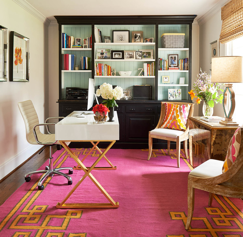 Small Home Office Decorating Ideas Part - 40: Multi Color Home Office Looks Pretty. Clark And Clark Interiors Designs