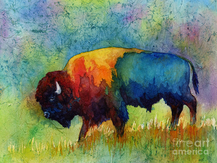 american buffalo watercolor painting