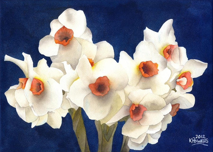 white bouquet painting with watercolors