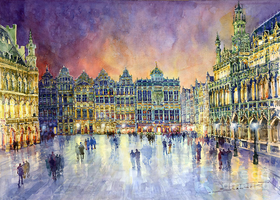 cityscape building watercolor painting