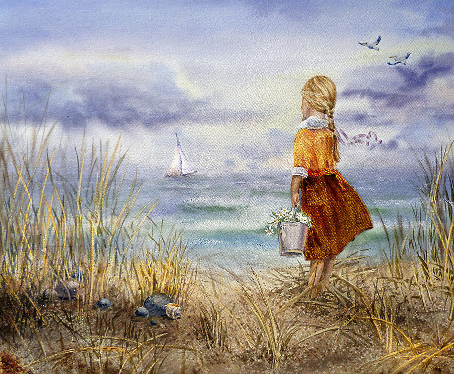 girl and the ocean painting with watercolors