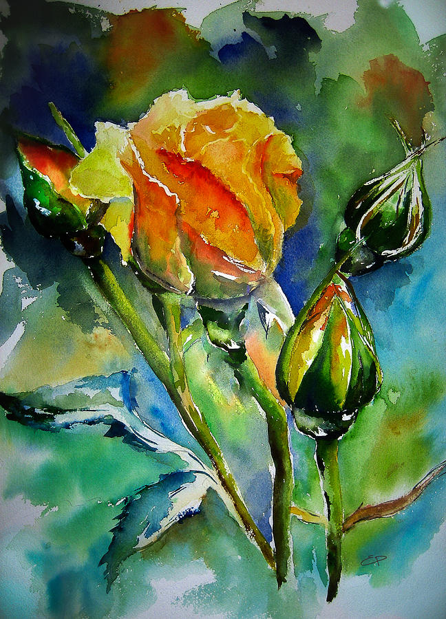 yellow roses watercolor painting