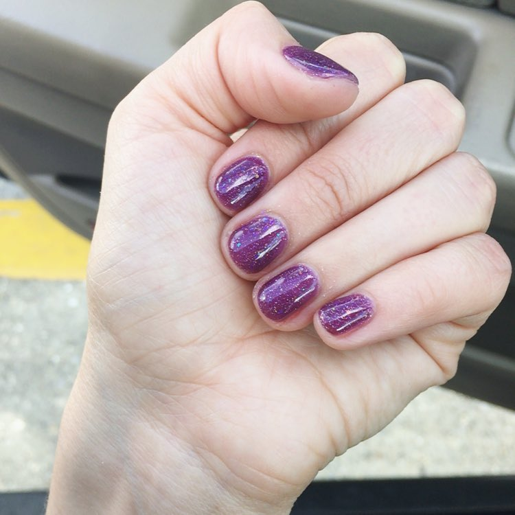 purple glitter nail art design