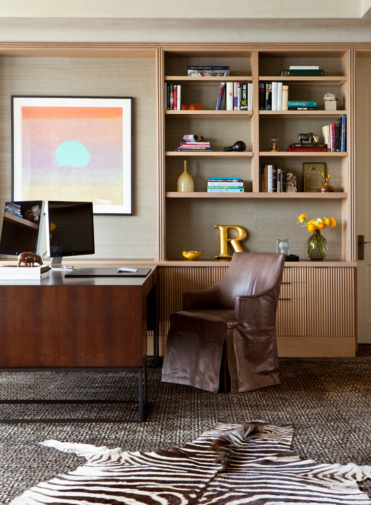 Inspiration For A Contemporary Office With Beige Walls
