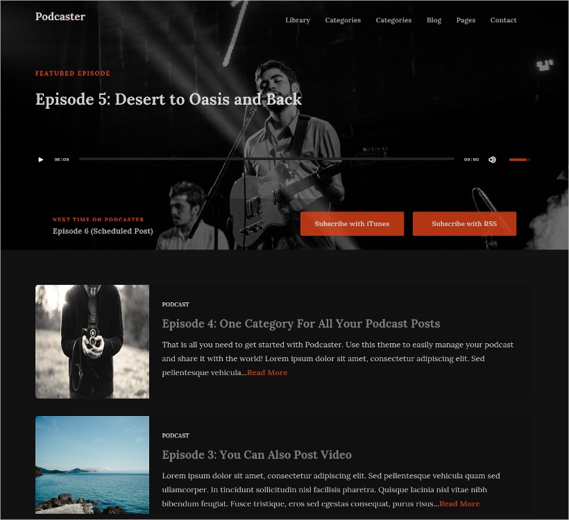 Dark Parallax Podcast WP Theme