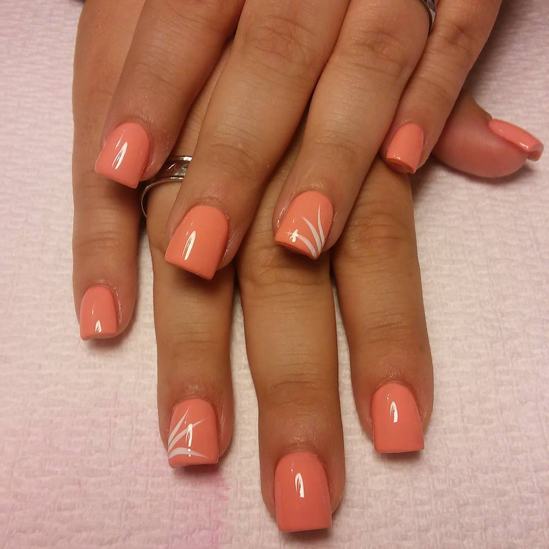 awesome peach nail polish designs