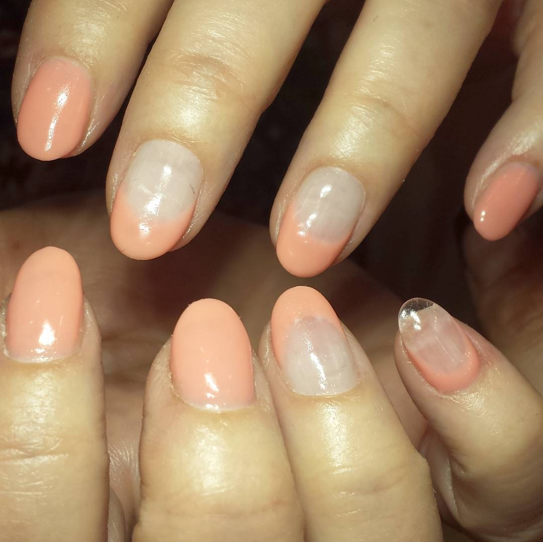 Water Color Peach Nail Art