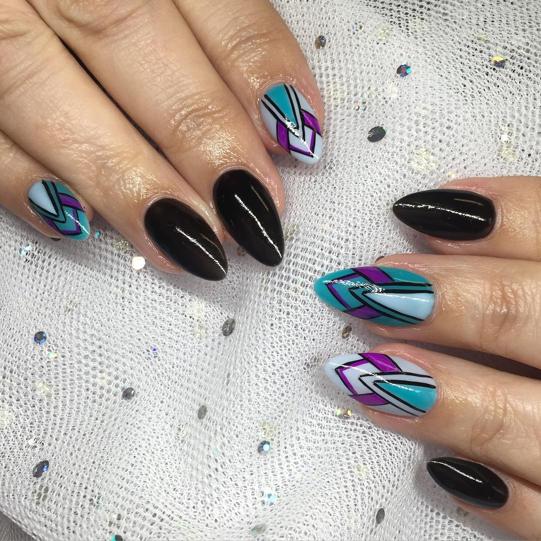 blue stiletto nail tips