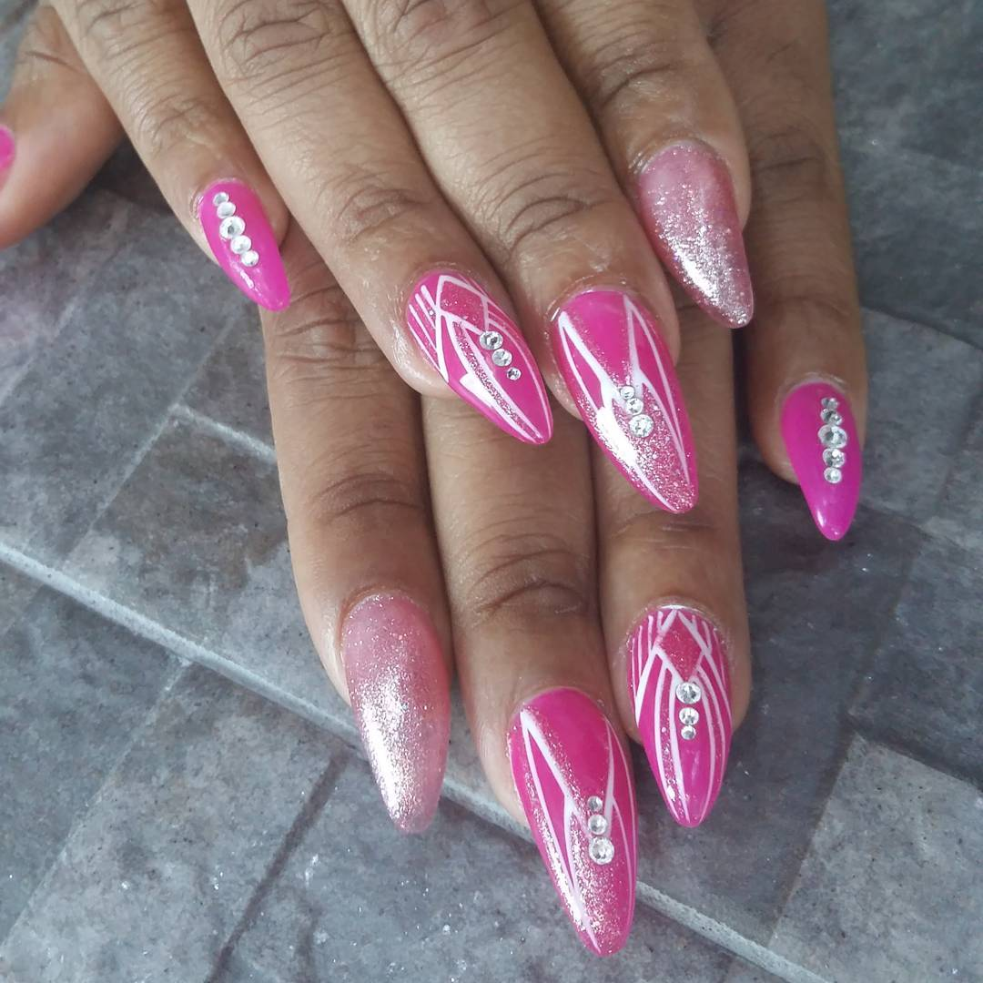 Pink Pointy Nail Art for Women