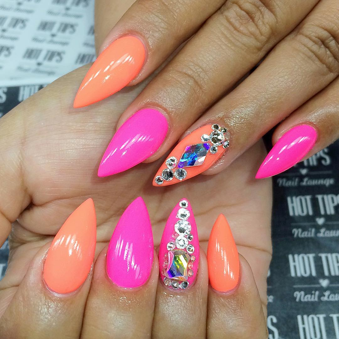 peach and pink design pointy nails - Pointed Nail Art Designs Emsilog. Glitter Green Stiletto Nails