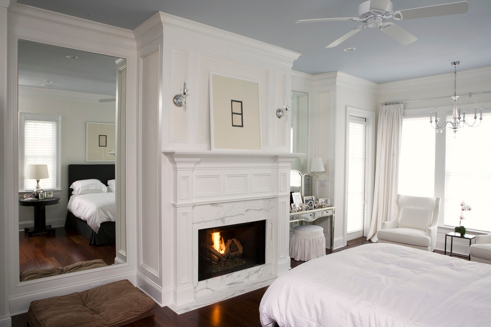 white painted traditional bedroom design