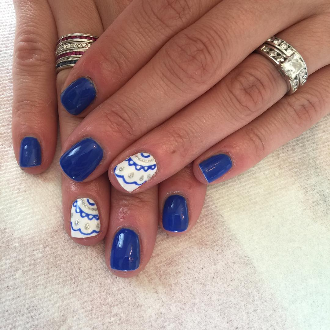 21 royal blue nail art designs ideas design trends premium white and blue nail design prinsesfo Choice Image