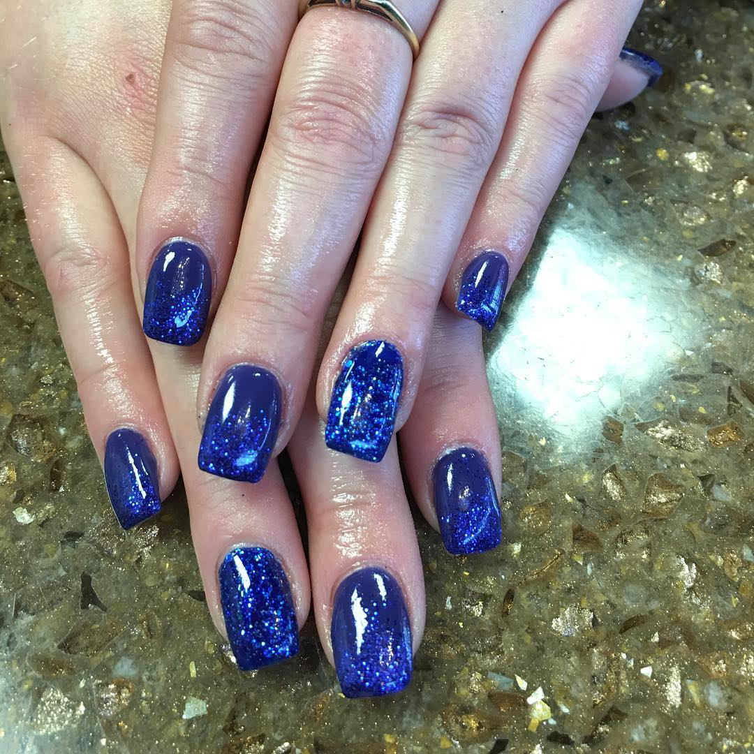 Gel Short Nail Design. Glitter Royal Blue Nails - 21+ Royal Blue Nail Art Designs, Ideas Design Trends - Premium PSD