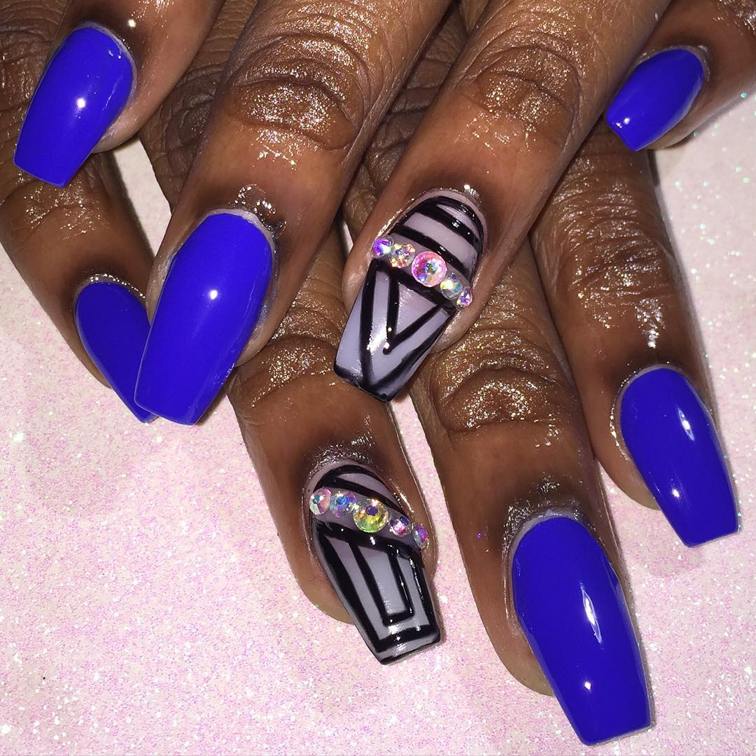 21 Royal Blue Nail Art Designs Ideas Design Trends Premium in acrylic nail designs royal blue intended for your inspiration
