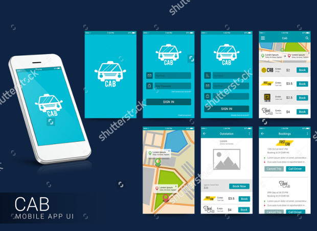 Online Cab Mobile App Interface Design
