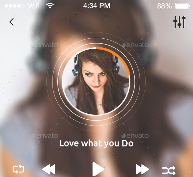 songi full music app gui design