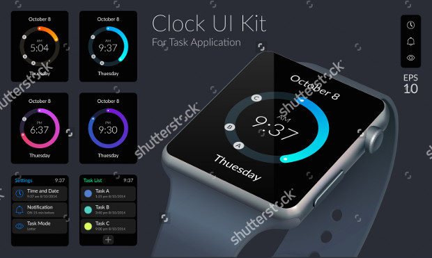 clock mobile app user interface design