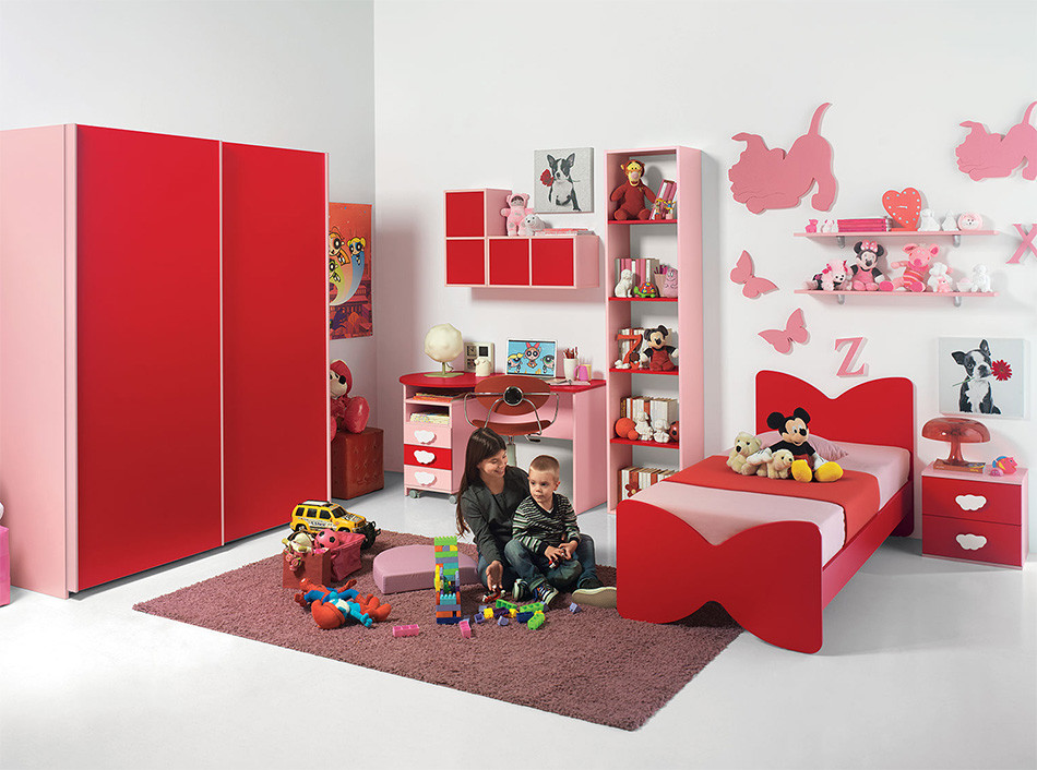 Superbe Red Furniture Design In Kids Bedroom