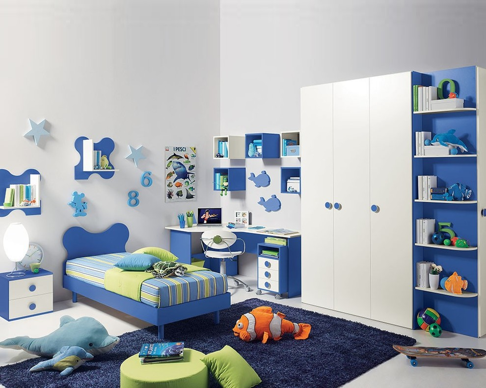 blue and white furniture for girls bedroom