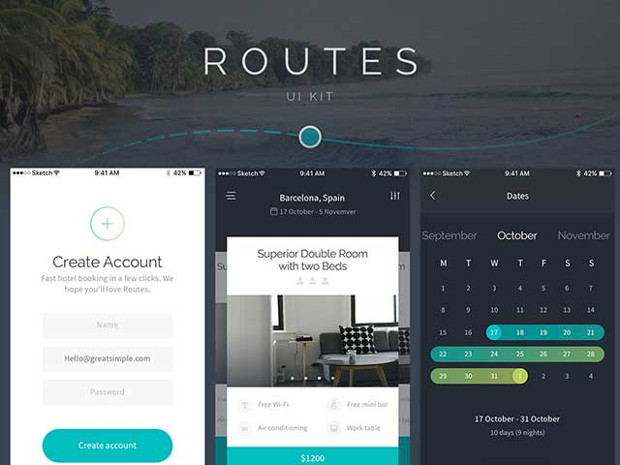 routes app mobile ui design