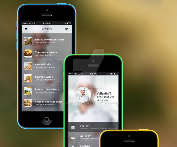 cooking app ui interface design