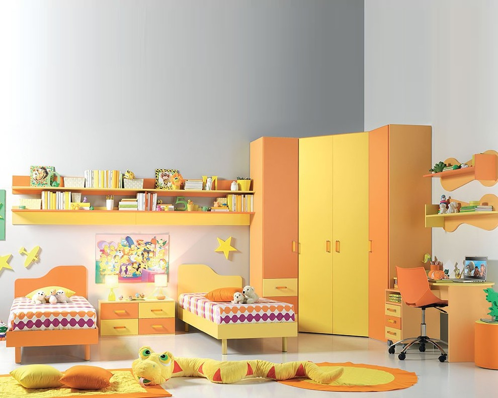 yellow and ornage furniture designs for children bedrooms