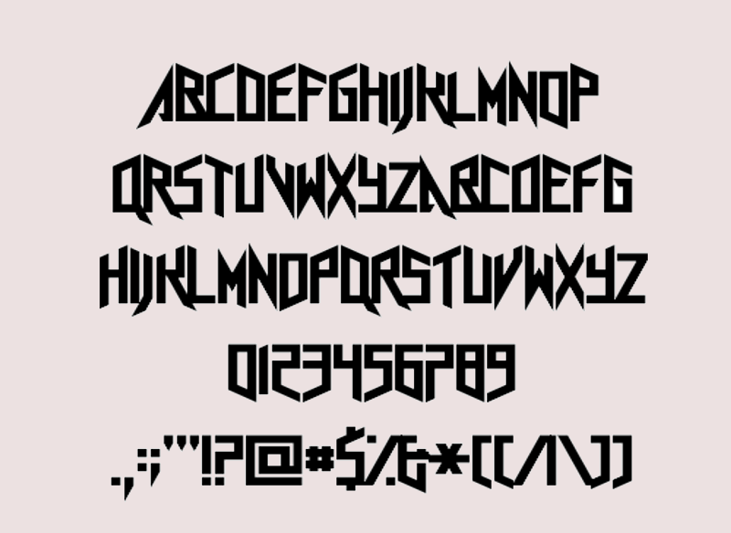 angled heavy metal font