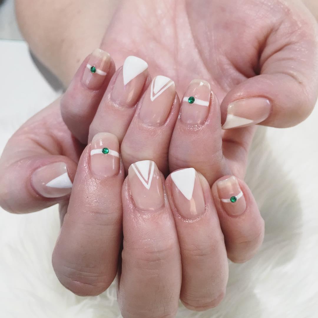 Green Stone Nail Art Design