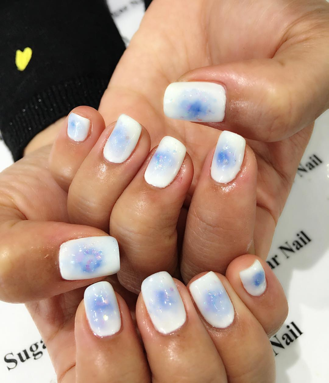 Blue Shaded White Nails