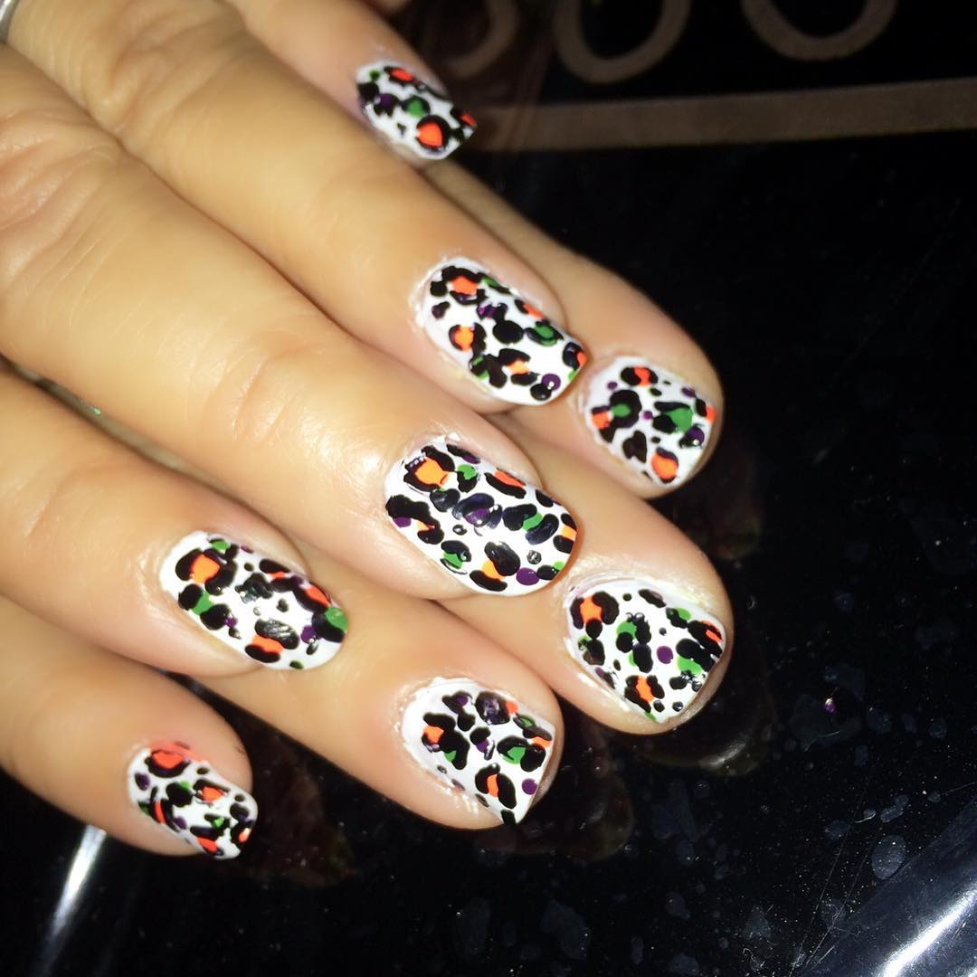 colorful white nails