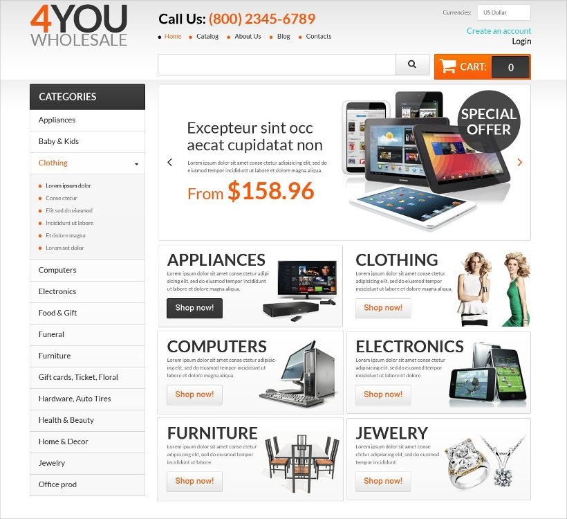 Joomla Virtuemart Wholesales Store Template