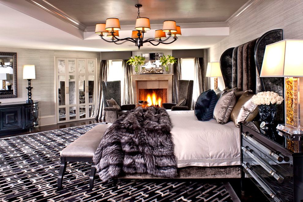 Bedroom In Los Angeles With Gray Walls And A Standard Fireplace