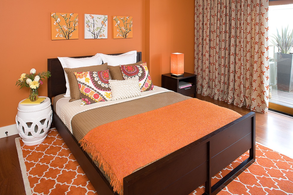 Contemporary Bedroom With Orange Walls