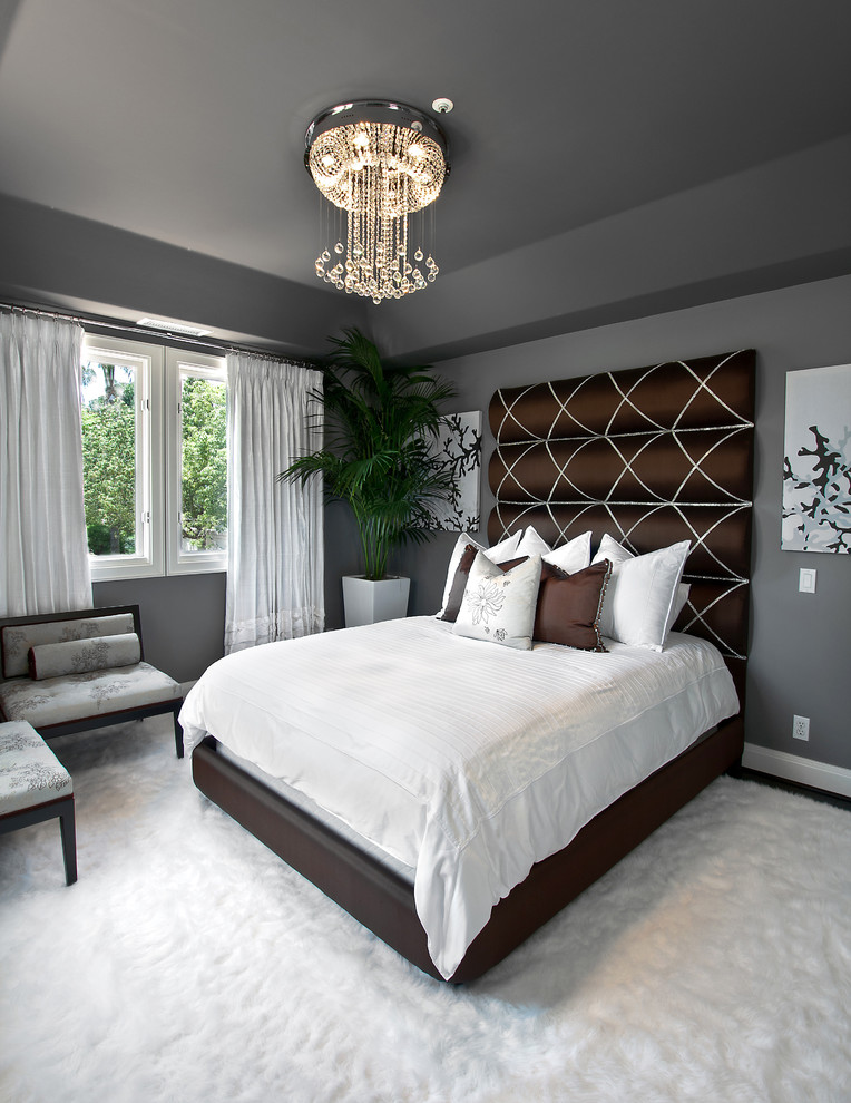Stylish Bedroom Grey Wall Design