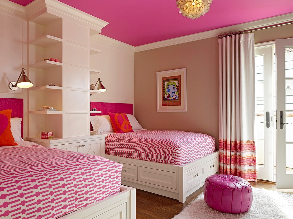 Transitional Guest Bedroom With Multicolored Walls